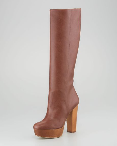 Stella Mccartney Woodplatform Faux Leather Knee Boot in Brown (praline)
