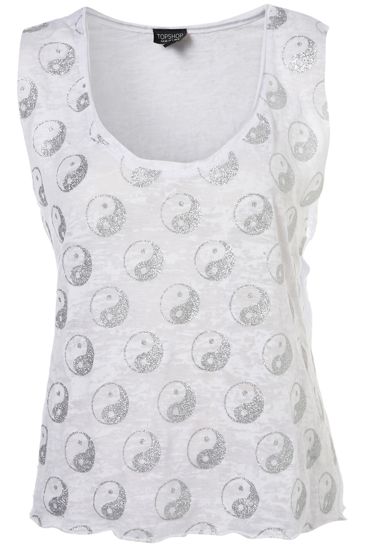 06414aba3c617c Lyst - TOPSHOP Yin Yang Glitter Vest in White