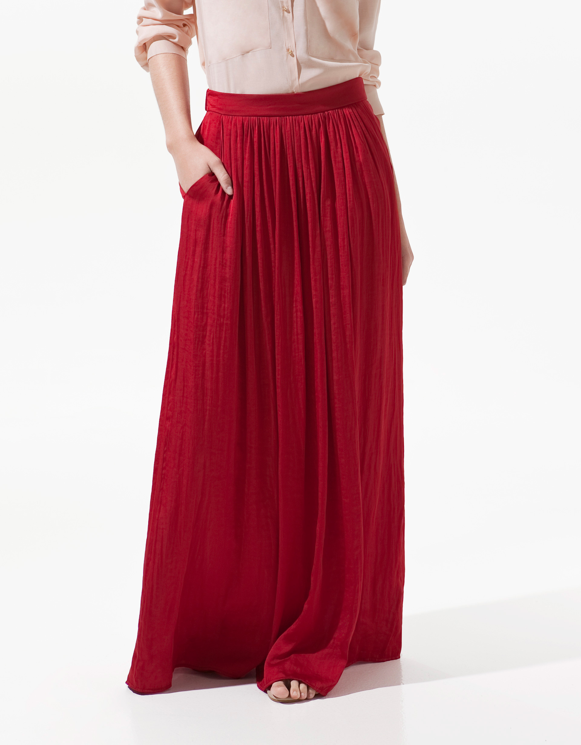 Zara Long Skirt with Pockets in Red | Lyst