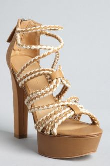 L.a.m.b. Tan Woven Leather Morisa Platform Sandals - Lyst