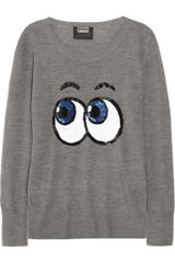 Markus Lupfer Pop Eyes Sequined Merino Wool Sweater