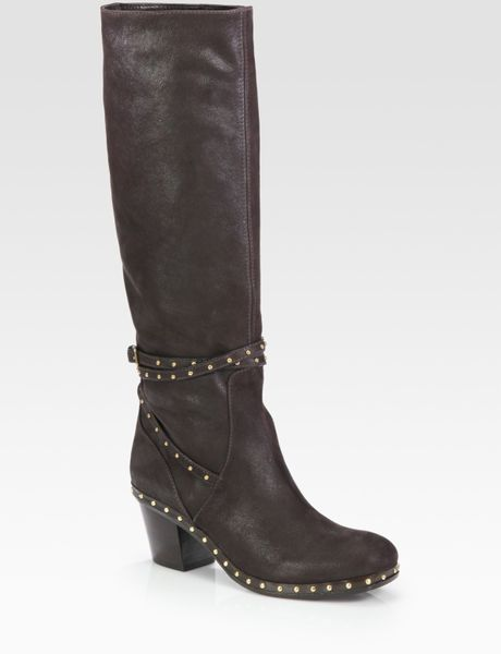 miu miu studded leather knee high motorcycle boots in