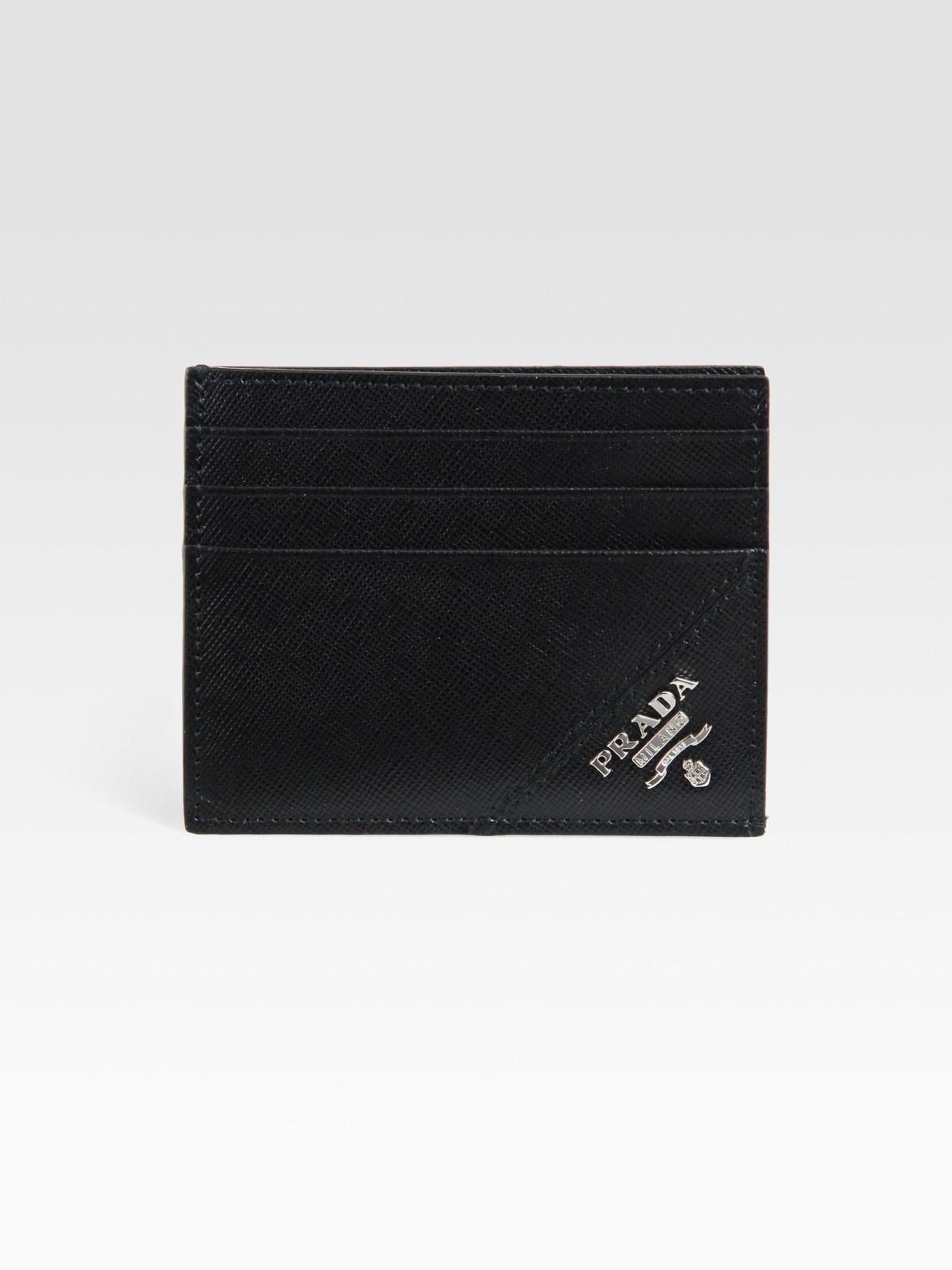 7e106241000c Prada Saffiano Leather Credit Card Case in Black for Men - Lyst