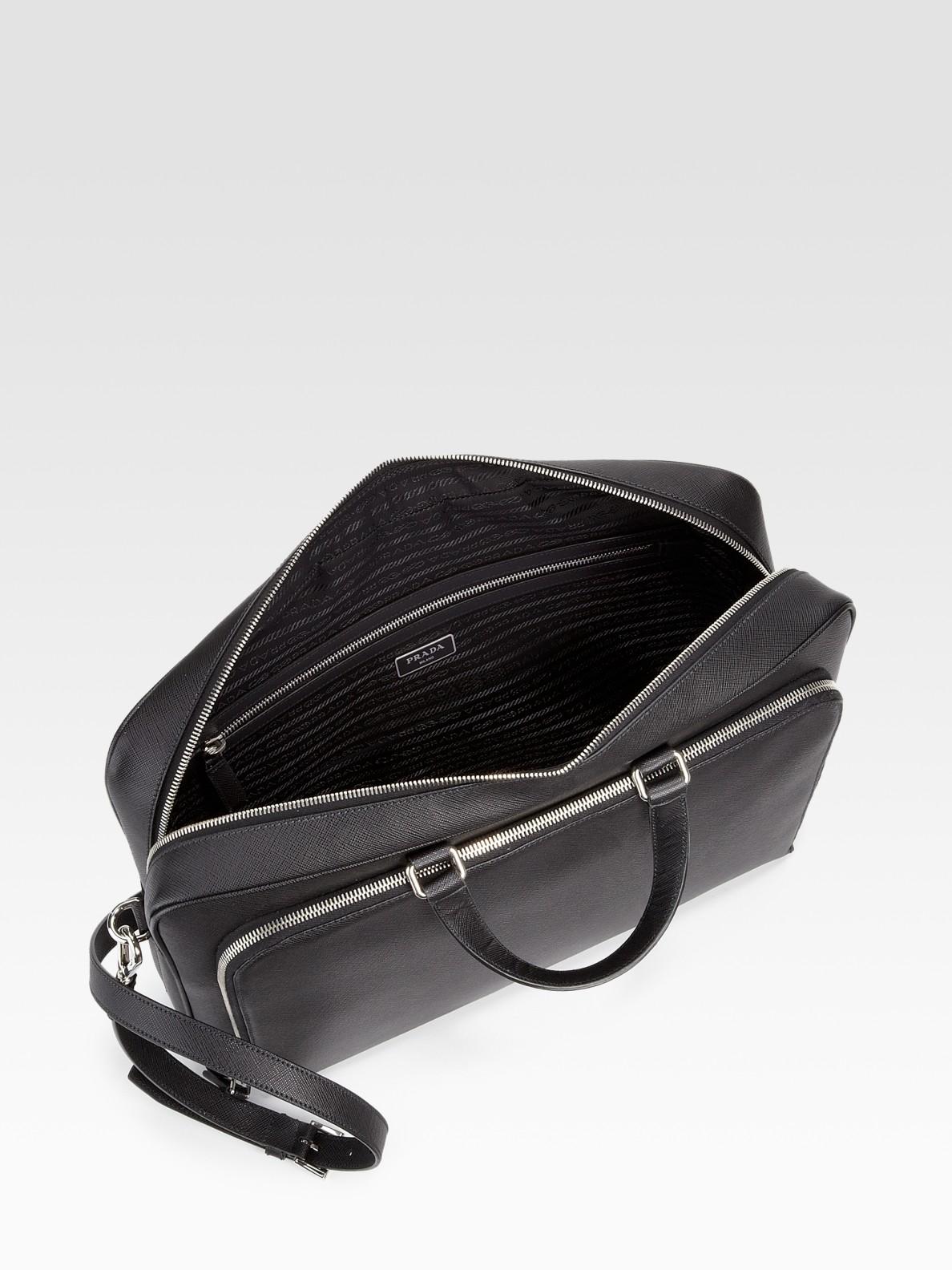 Prada Saffiano Leather Zip Briefcase in Black for Men | Lyst