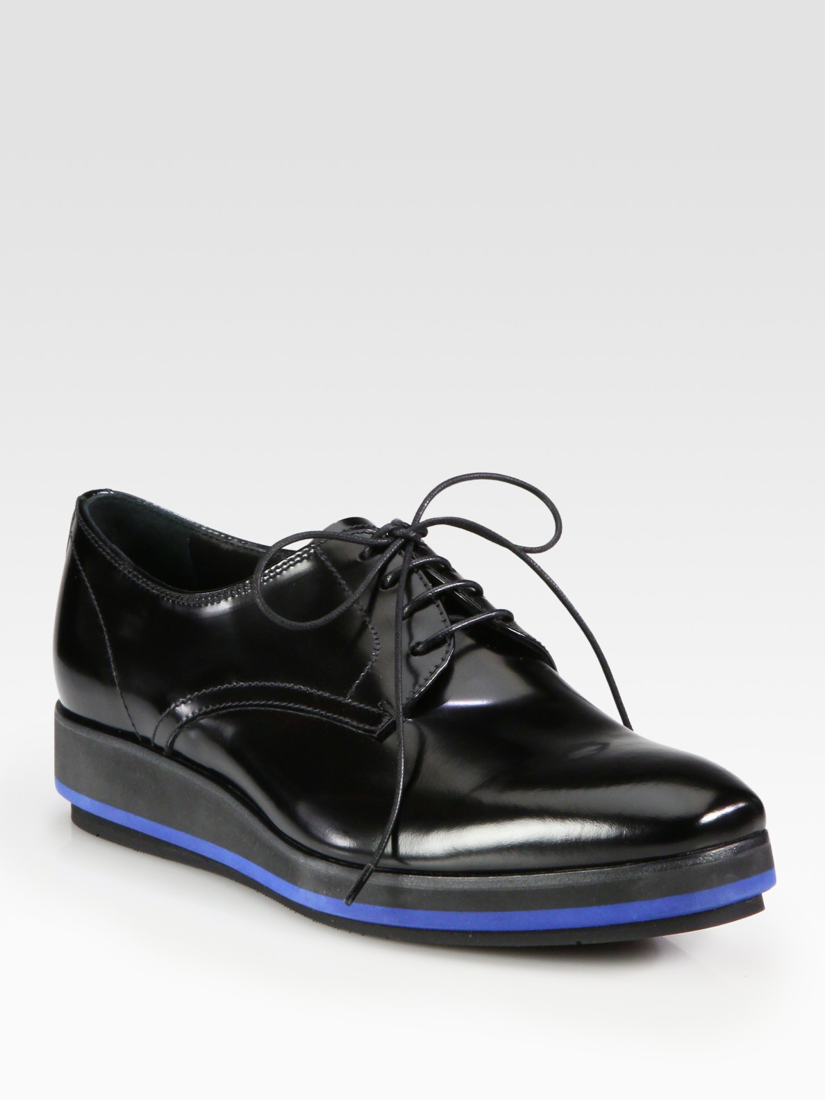 Prada Spazzolato Lace Up Platform Oxfords In Black Lyst