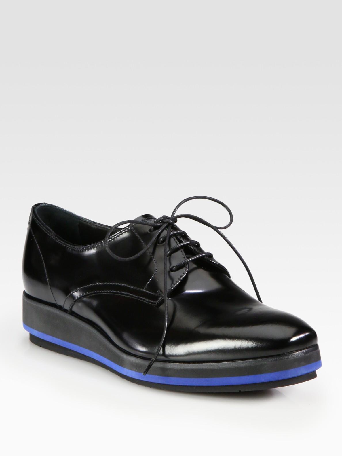 Prada Spazzolato Lace Up Platform Oxfords In Black Lyst