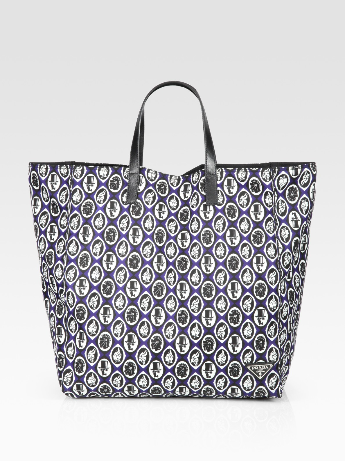 Prada Printed Tote in Blue for Men | Lyst