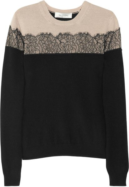Valentino Laceappliquéd Woolblend Sweater in Black - Lyst