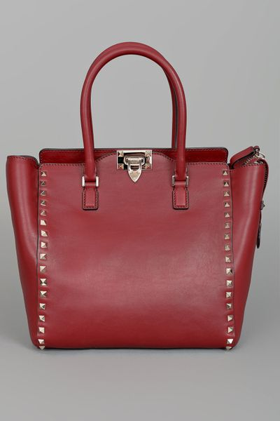 Valentino Rock Star Studded Shopper  in Red