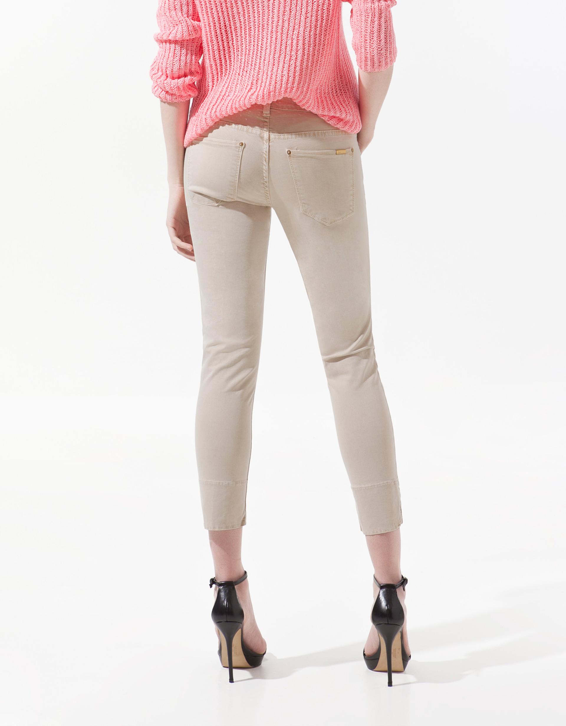 Zara Satin Capri Pants in Natural | Lyst