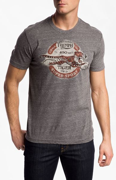 Lucky brand triumph tiger tshirt in gray for men coal for Lucky brand triumph shirt