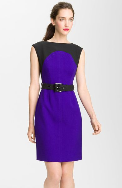 Milly Colorblock Dress in Blue (violet body/ black combo)