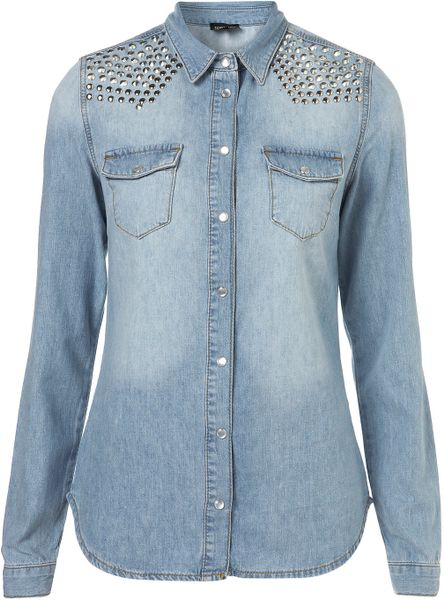 Topshop Studded Bleach Denim Shirt in Blue (bleach stone)