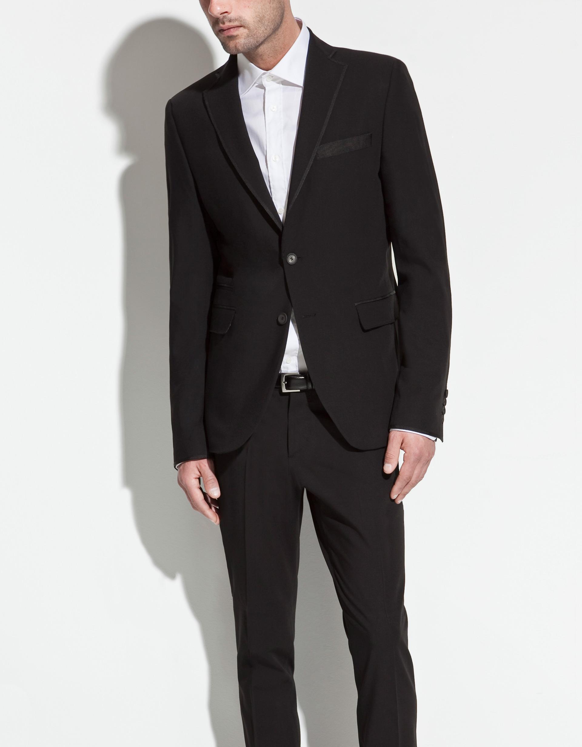 Zara Blazer With Grosgrain Ribbon Lapel In Black For Men