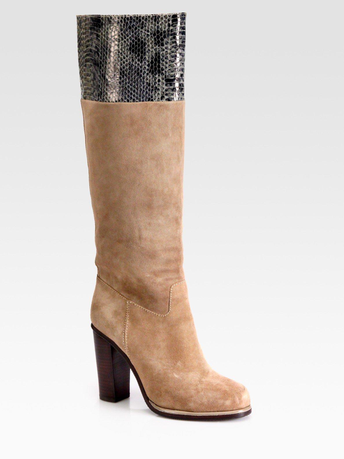 diane furstenberg suede and snakeprint kneehigh boots