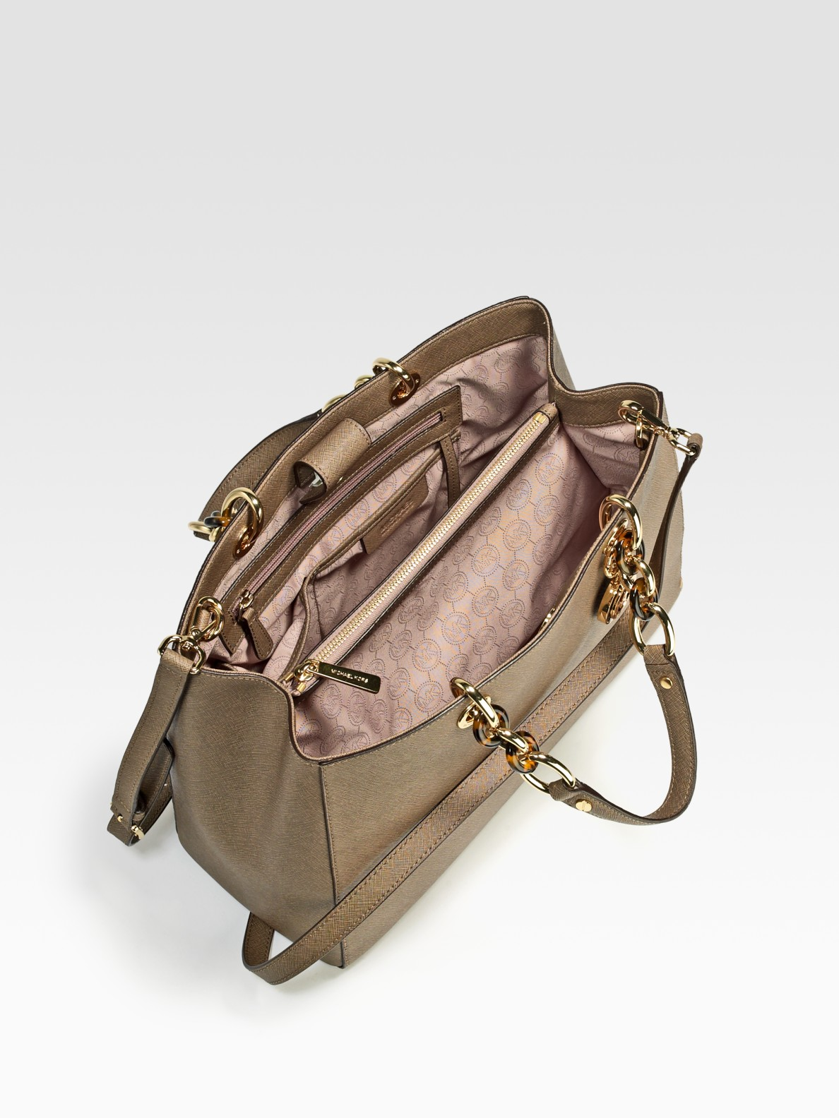 d942ab988fad MICHAEL Michael Kors Large Saffiano Leather Satchel in Brown - Lyst