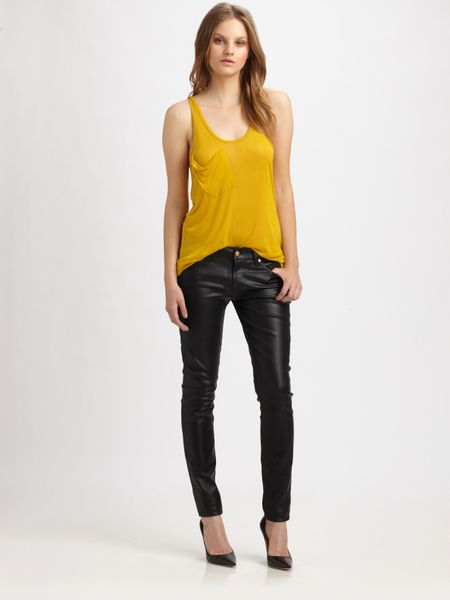7 For All Mankind The Skinny Highshine Jeans in Black - Lyst