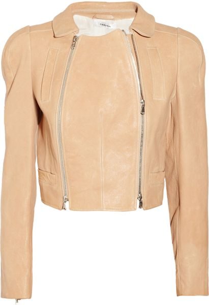 Carven Leather Jacket in Beige (nude) - Lyst