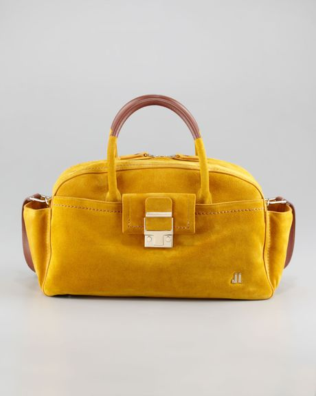 Lanvin Jl Suede Bowling Bag Small in Yellow (mustard)