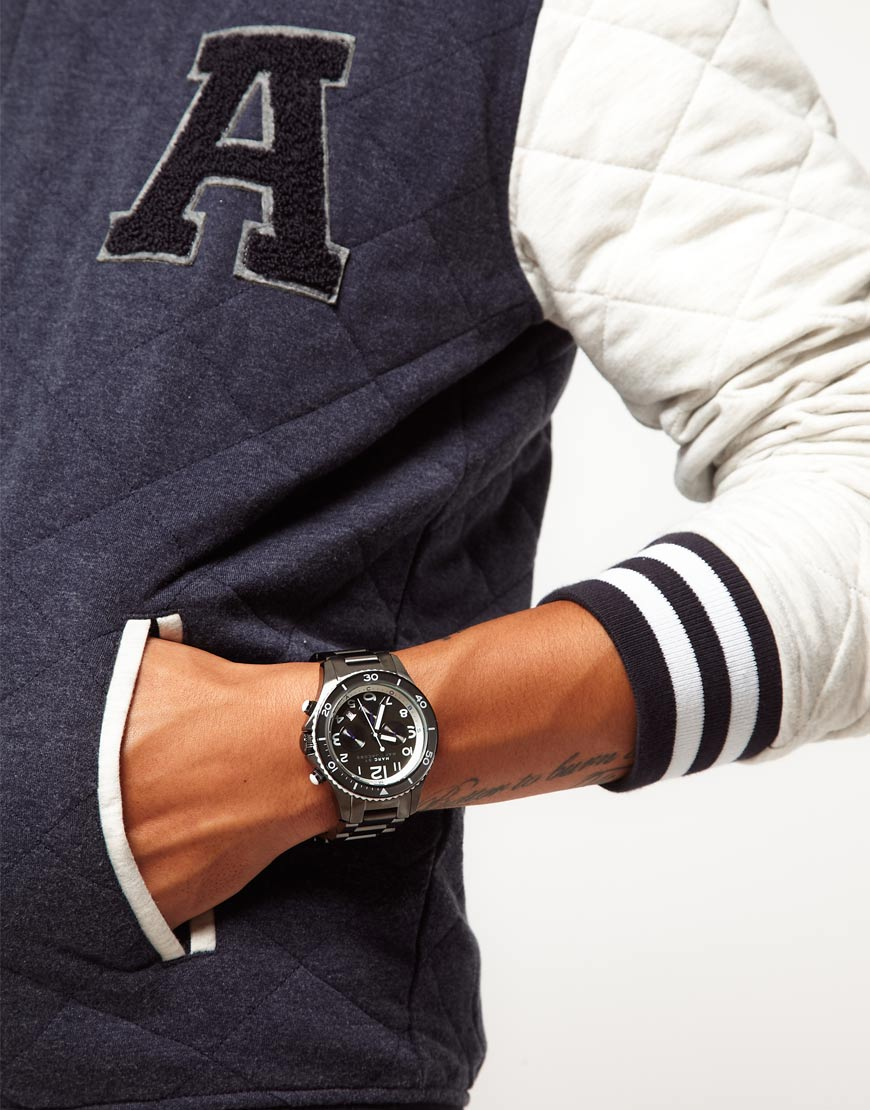 marc by marc jacobs round chronograph bracelet watch in gray for gallery