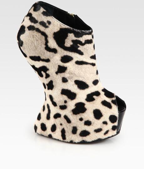 giuseppe zanotti leopard print calf hair wedge ankle boots