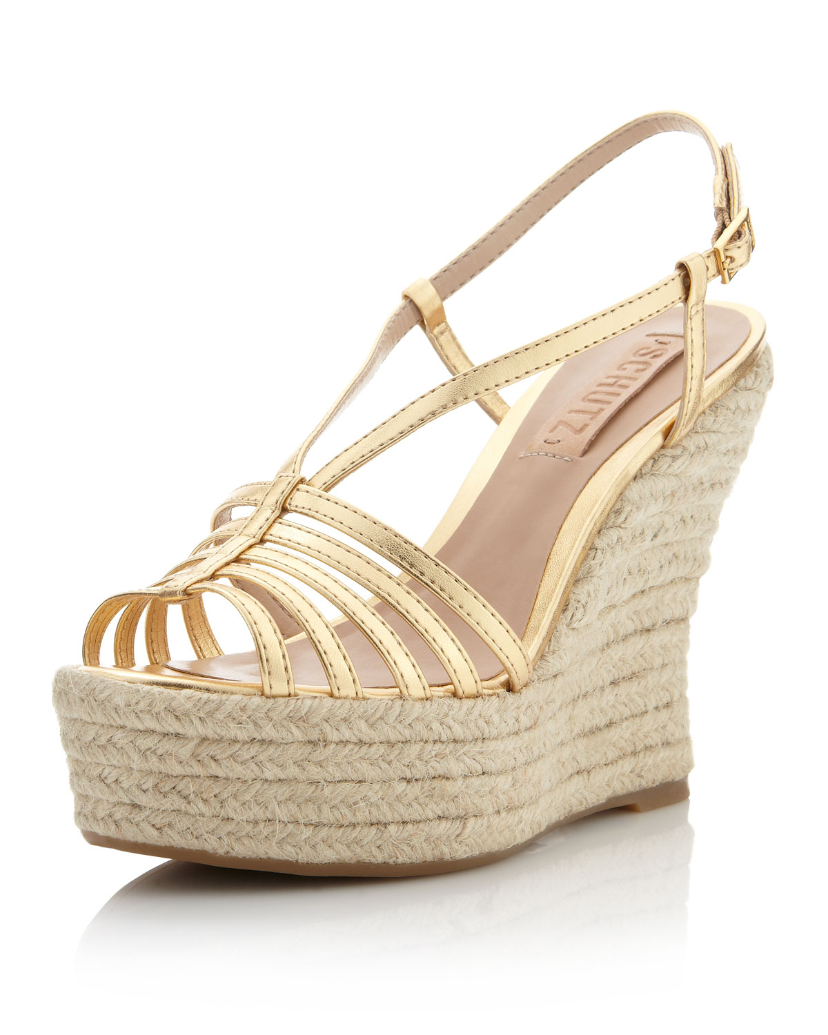 Schutz Slingback Wedge Sandal Gold In Gold Lyst