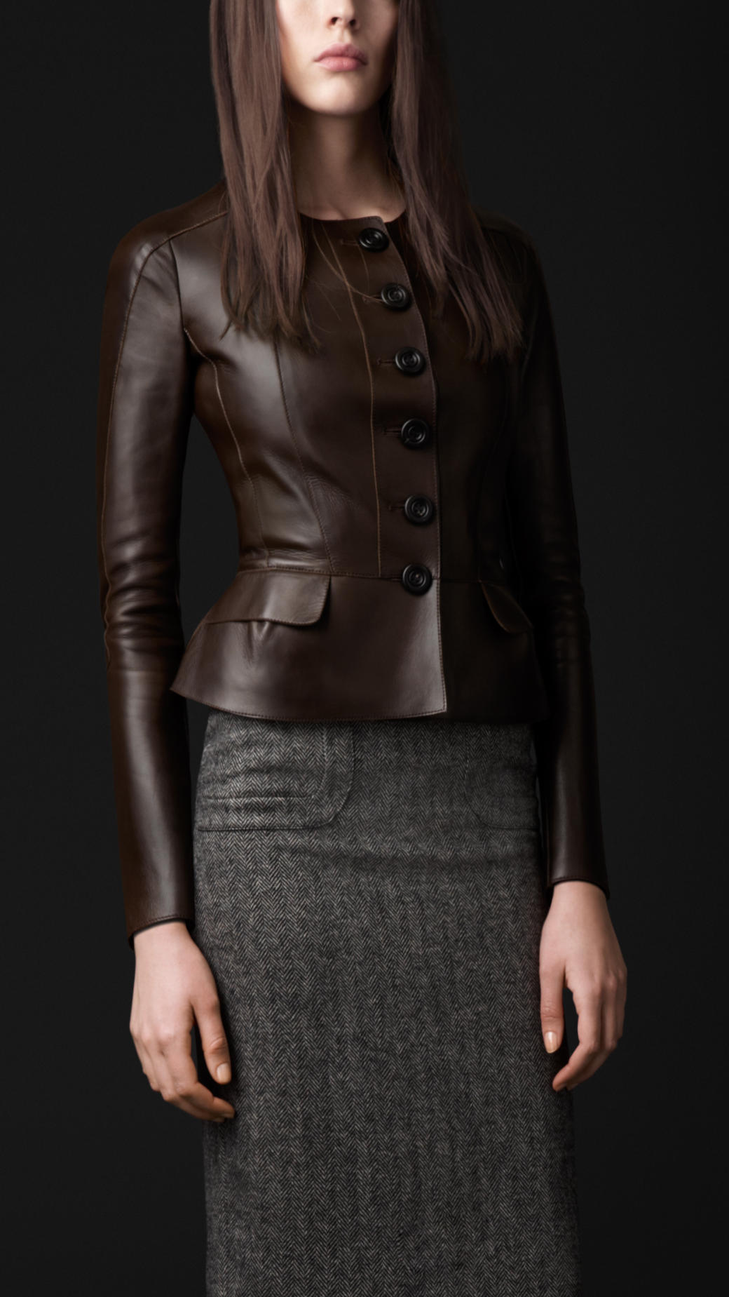 Burberry Prorsum Peplum Detail Leather Jacket In Brown Dark Cedar Brown Lyst