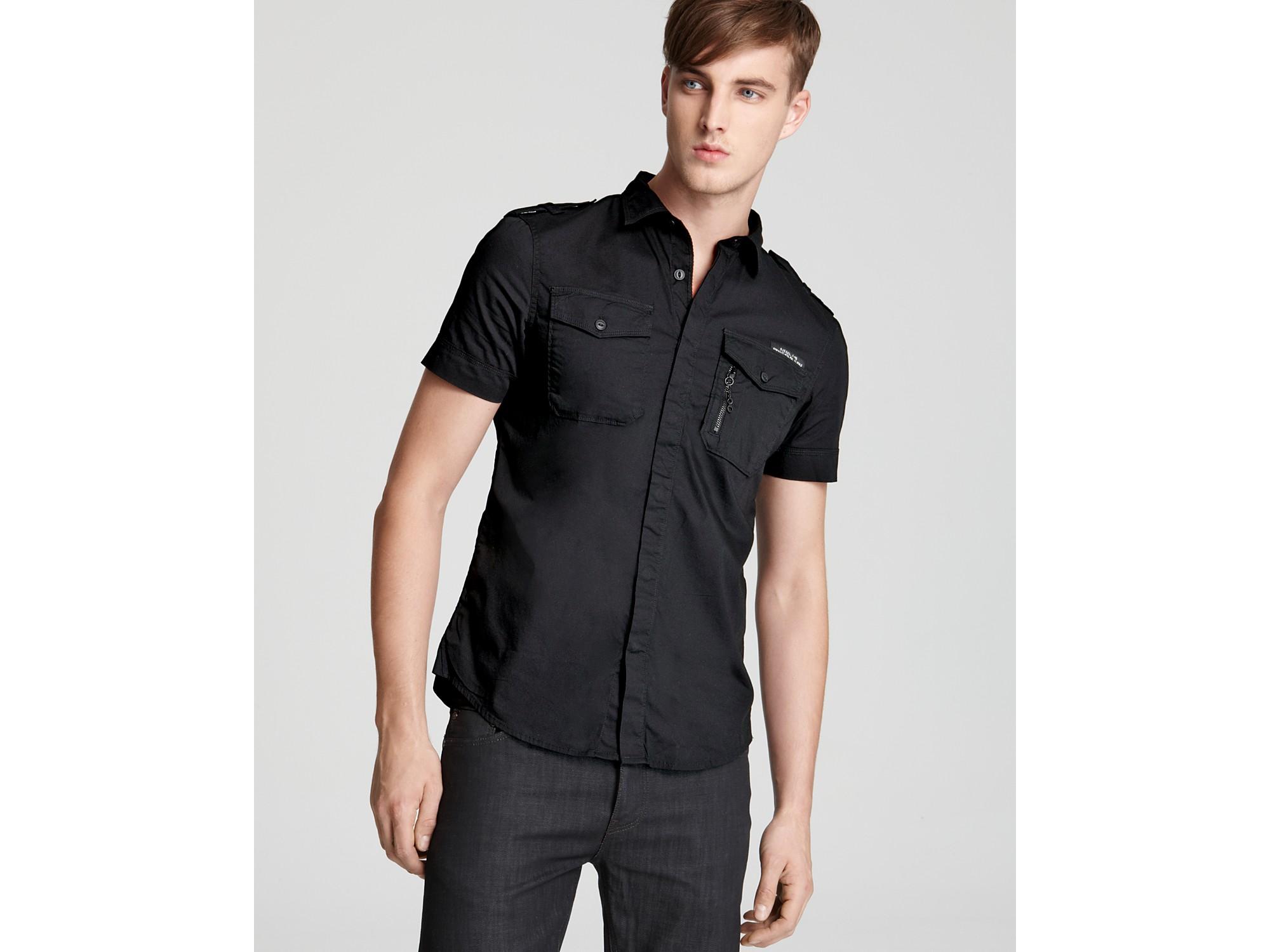 Diesel Stombols Short Sleeve Sport Shirt Slim Fit in Black for Men ...