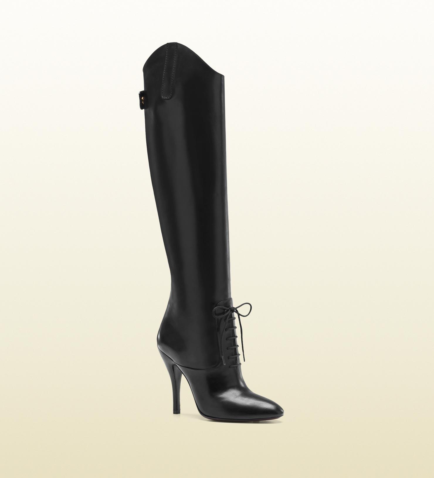 Gucci Elizabeth High Heel Leather Riding Boot in Black - Lyst 609baf2c2b0