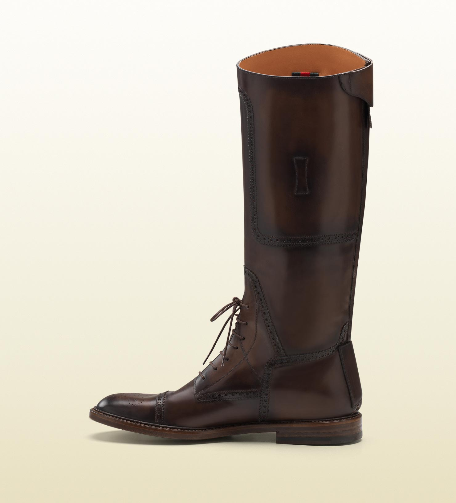 ccb5d3eca60 Lyst - Gucci Redoute Brown Perforated Leather Tall Boot in Brown for Men