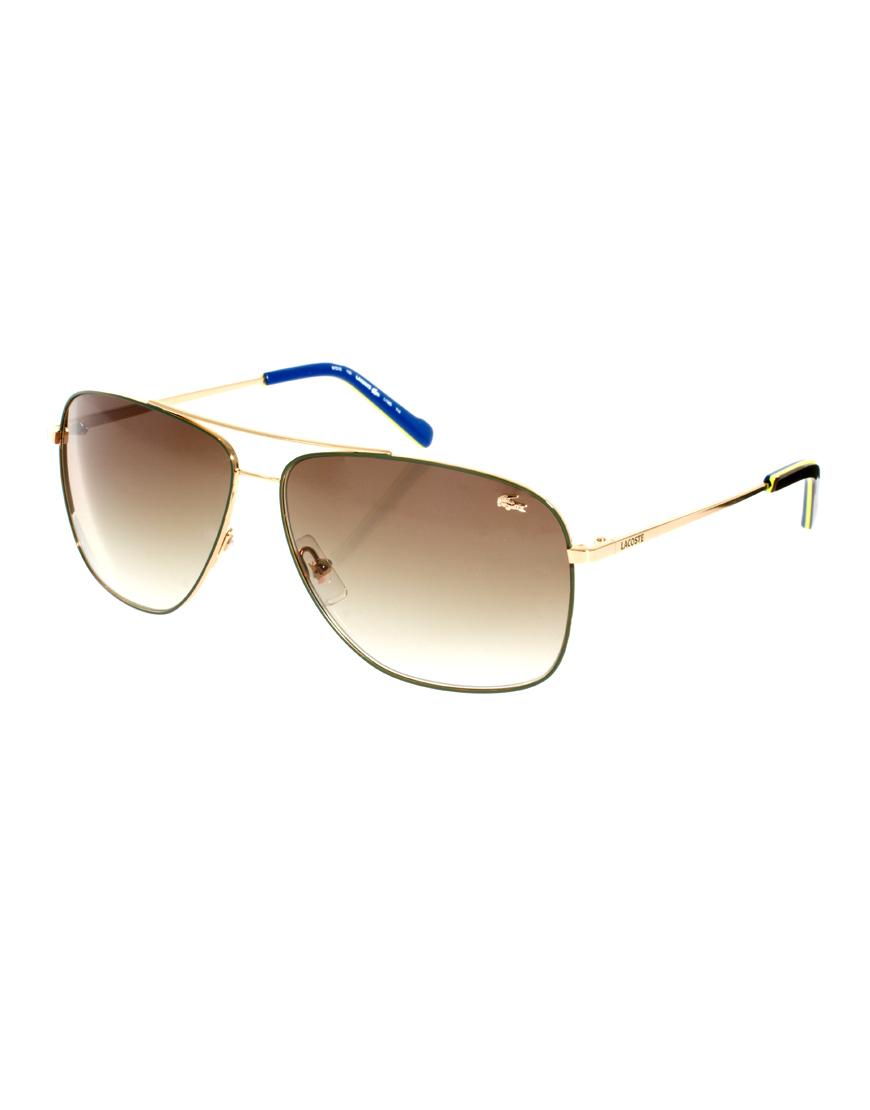 438b76ccff6f3 Lacoste Aviator Sunglasses in Metallic for Men - Lyst