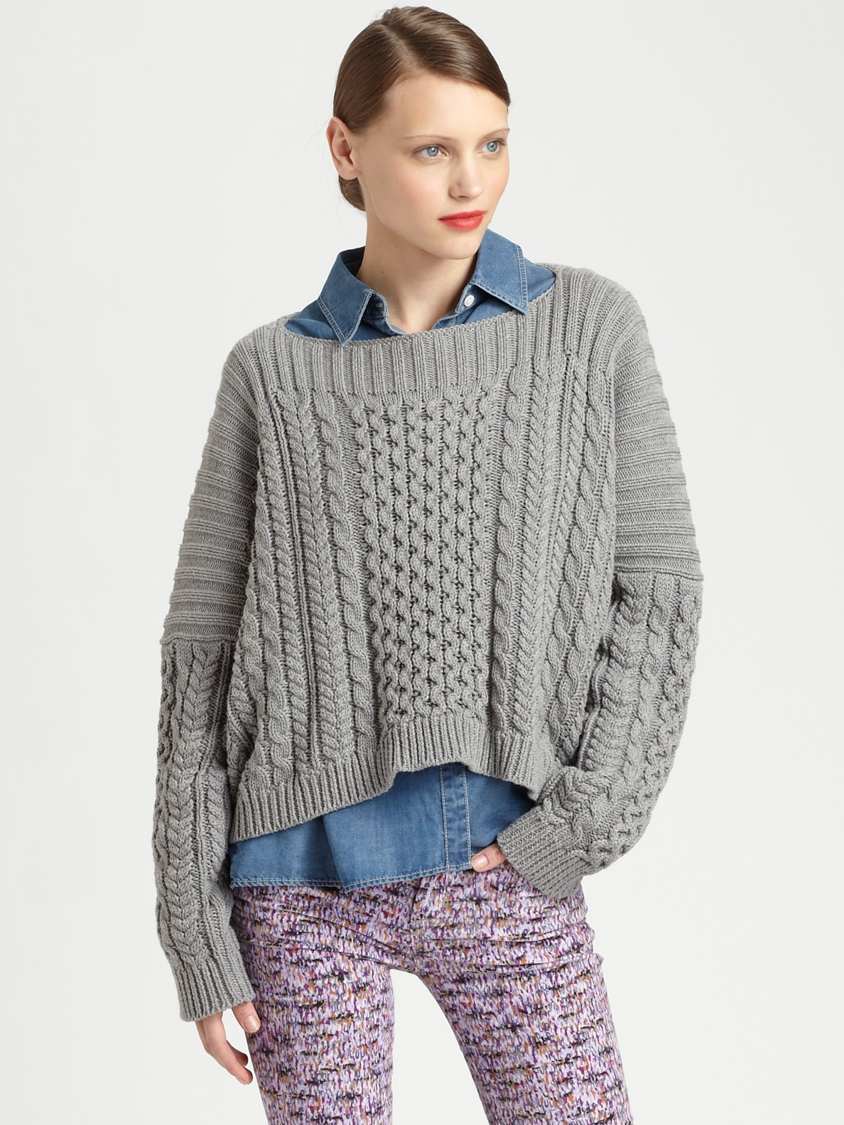 marc by marc jacobs geraldine sweater in gray lyst. Black Bedroom Furniture Sets. Home Design Ideas