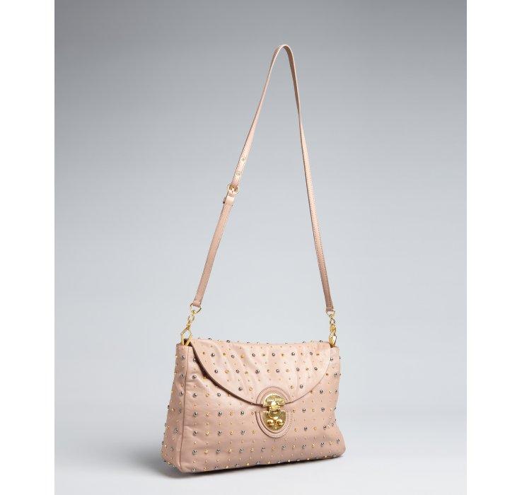 4cce2d95b52 Miu miu Cameo Studded Leather Shoulder Bag in Pink