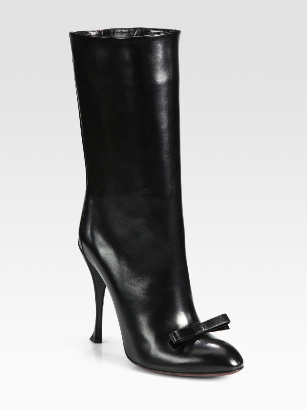Lyst - Nina Ricci Leather Bow Mid Calf Boots in Black 9ced7d50ab5c