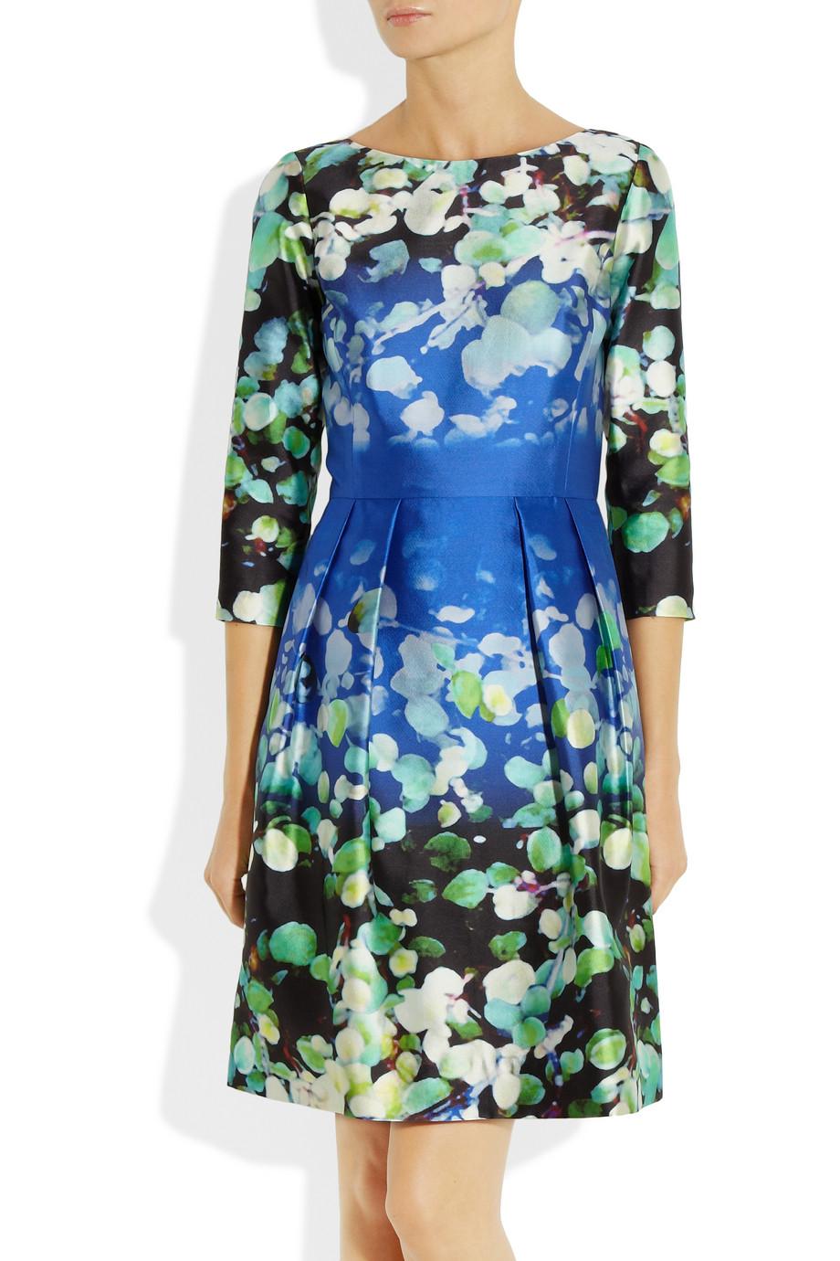 Lyst Oscar De La Renta Floral Print Silk Blend Mikado