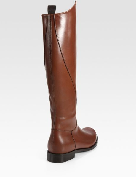 pollini leather flat knee high boots in brown