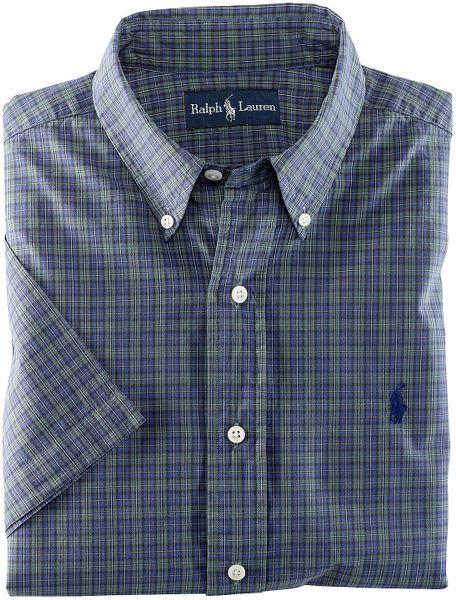 Polo ralph lauren classicfit shortsleeved tartan plaid for Blue and green tartan shirt