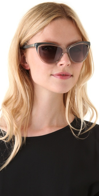 Saint laurent Exaggerated Cat Eye Sunglasses in Transparent | Lyst