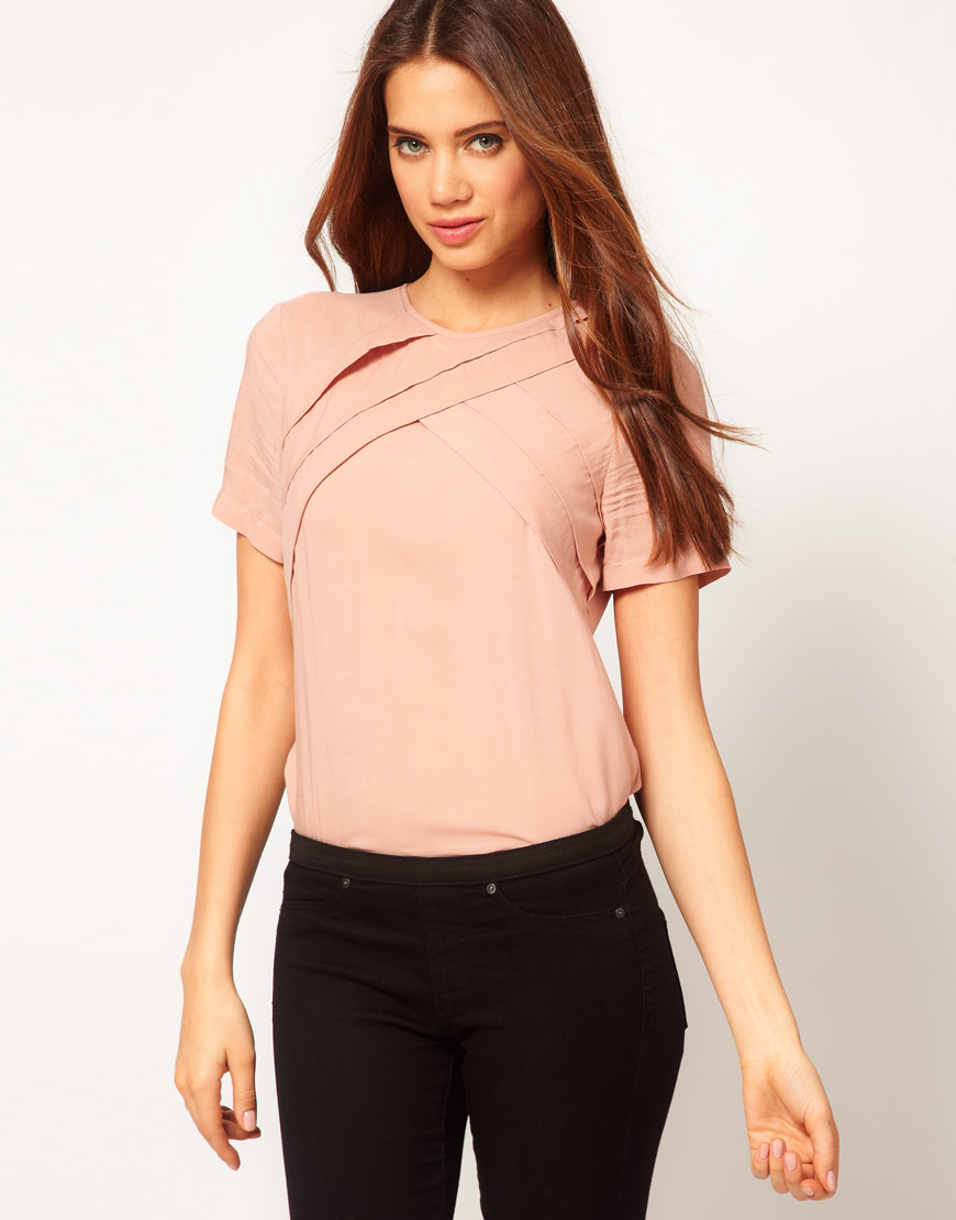 Lyst - Asos Collection Asos Blouse With Diagonal Pleats in ...
