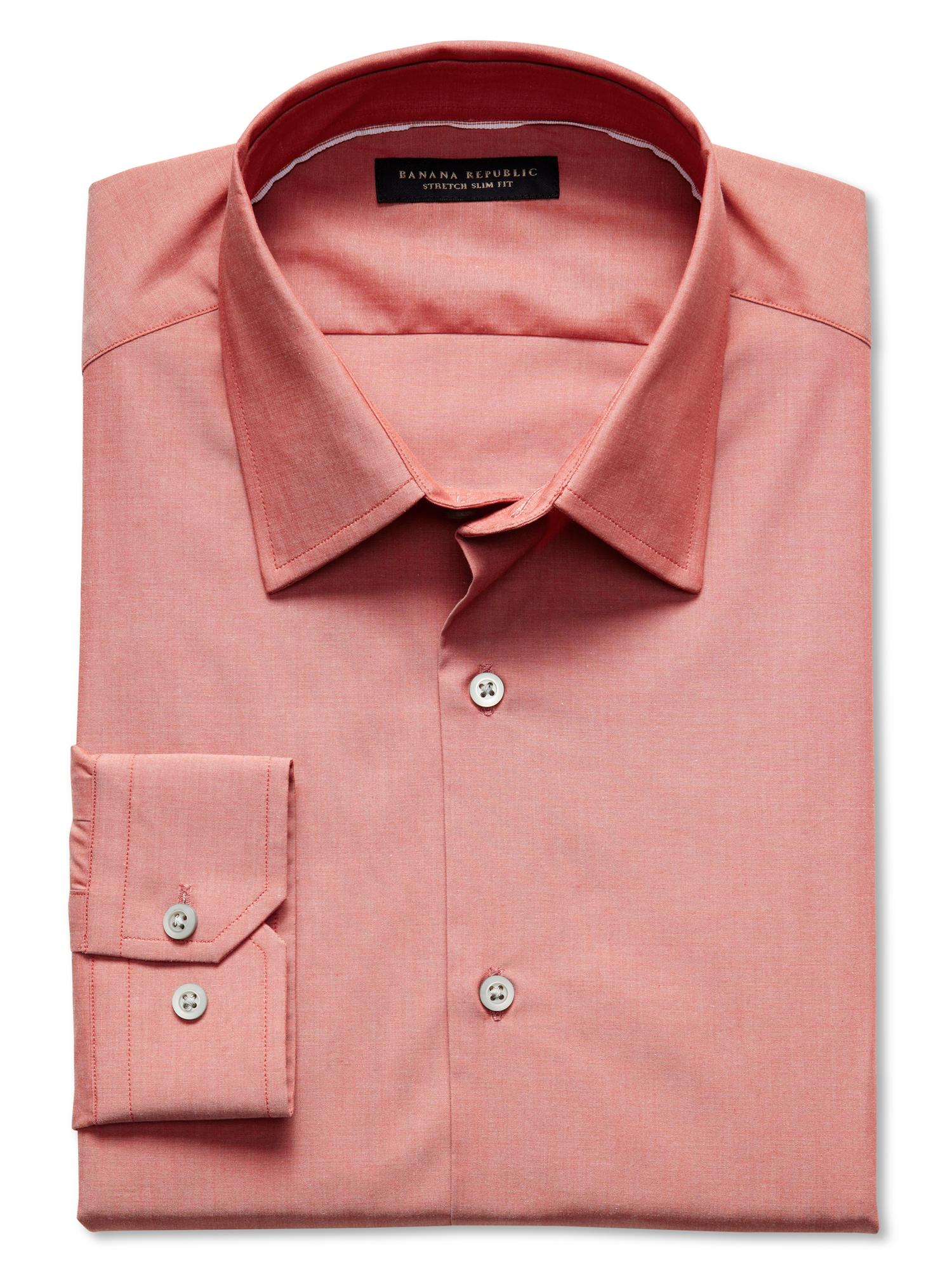 Banana republic slim fit stretch dress shirt in pink for for How to stretch a dress shirt