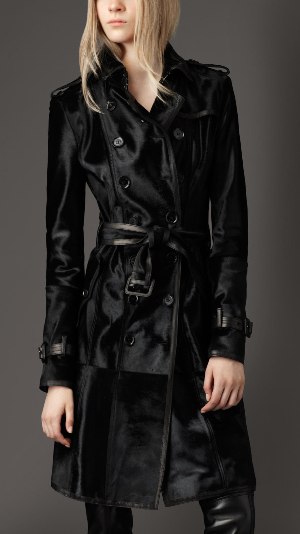 Trench leather jacket