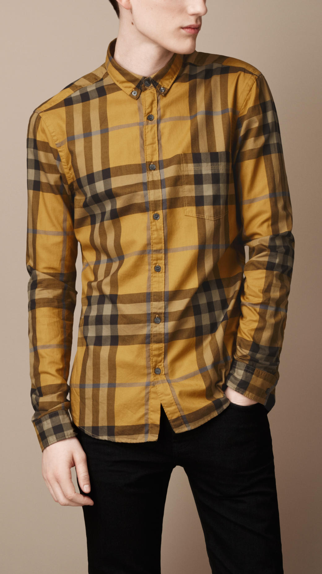 Lyst - Burberry Brit Exploded Check Cotton Shirt in Yellow for Men 2d82fd99ce