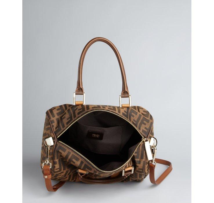 ... bag brown 4ddb6 b425d  wholesale lyst fendi tobacco zucca canvas  bauletto c convertible crossbody fde3c d4018 2b034fa67b318