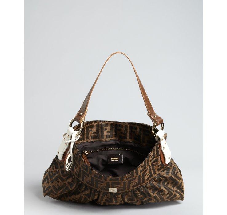 6bb24f6cf961 ... discount lyst fendi tobacco zucca canvas chef shoulder bag in brown  27250 40a22