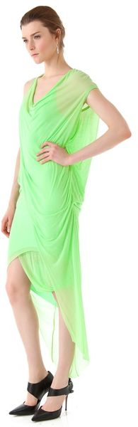 Helmut Lang Viscose Film Draped Maxi Dress in Green - Lyst