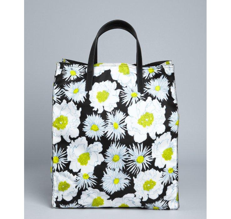 Prada Black Floral Print Nylon Tote in Black | Lyst