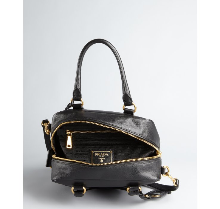 Prada Black Saffiano Leather Convertible Top Handle Bowler Tote in ...