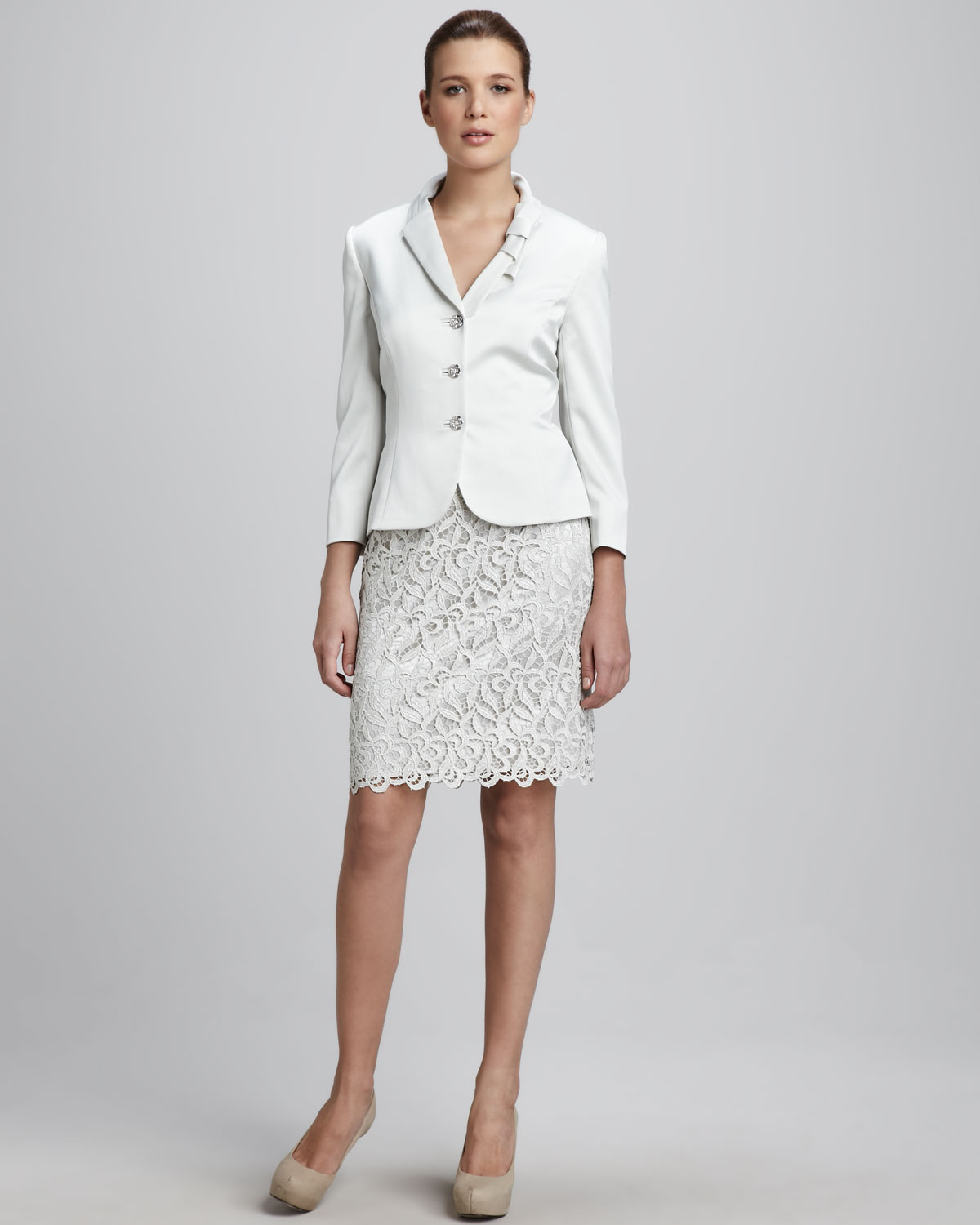 Tahari lace skirt suit in white lyst for Wedding dress bodysuit and skirt