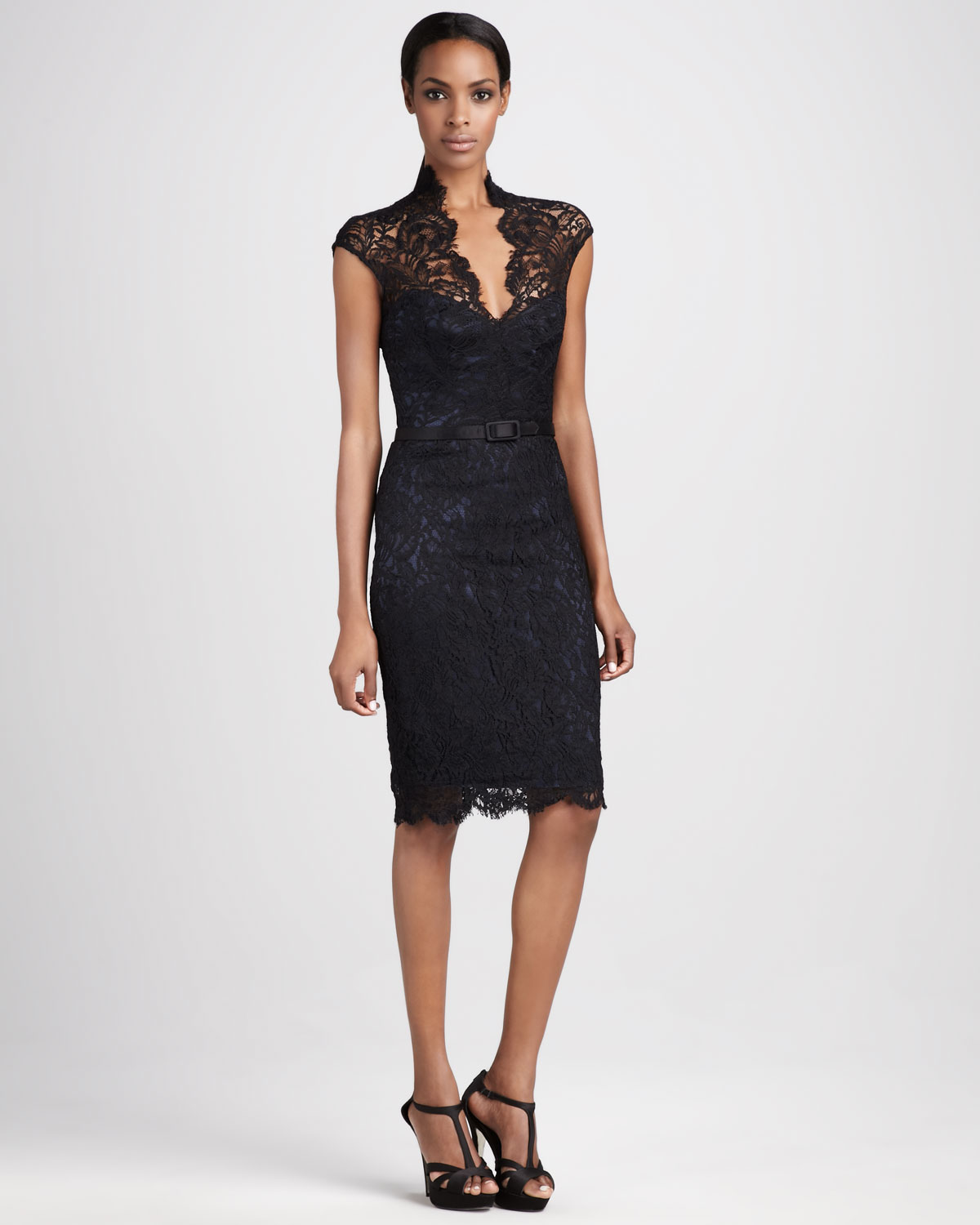 08e58263b3 THEIA Lace Cocktail Dress in Black - Lyst