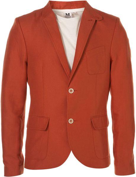 Topman Red Safari Linen Skinny Blazer in Orange for Men (red)